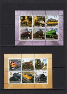 Mauritania 2002  Trains-Locomotives-Rotary International 5 Sheetlets of 6 MNH