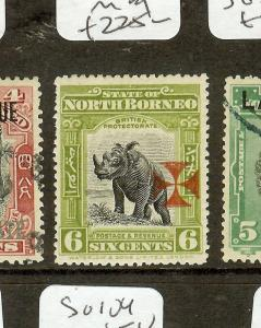 NORTH BORNEO   (P2907B) 6C RHINOCEROS RED CROSS GOOD PERF SG206A  MOG