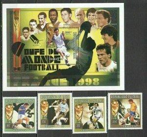 H1370 1996 MALI FOOTBALL WORLD CUP FRANCE 1998 MICHEL 19 EURO #1688-91+BL96 MNH