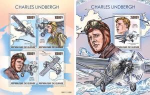 Charles Lindbergh Planes Flugzeuge Aviation Guinea MNH stamp set