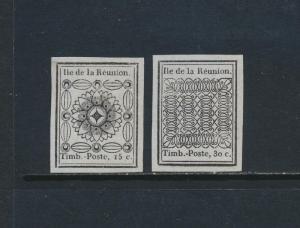 REUNION 1852, 15c & 30c REPRINTS, VF UNUSED Sc#1-2 CAT$125 (SEE BELOW)