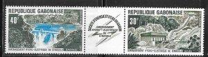 Gabon #C139-C140a strip of 2 + label (MNH)  CV $2.75