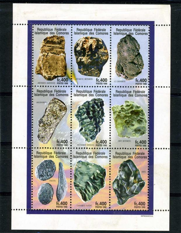 Comoro Islands 1998 SPACE Minerals Sheet (9) Perforated mnh.vf