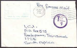 RHODESIA 1980 Bush War Official cover - taxed to Sth Africa................34999