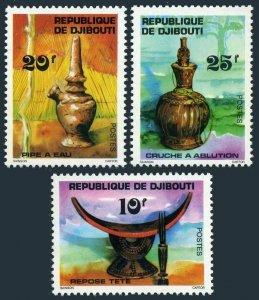 Djibouti 459-461,MNH.Michel 196-198. 1977.Headrest,Water pipe,Pitcher.