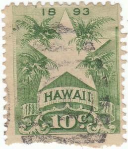 Hawaii, Scott #77 - 10c Yellow Green - Used