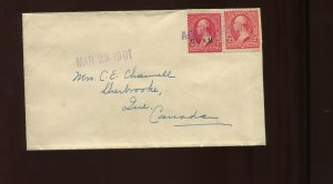 Guam Scott 2 Overprint & USA 2 CENT STAMP MIXED USAGE on 1901 Cover TO CANADA