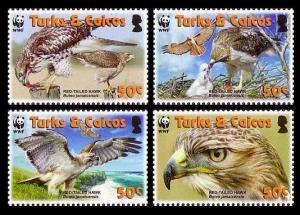 Turks and Caicos Birds WWF Red-tailed Hawk 4v SG#1870-1873 SC#1482a-d