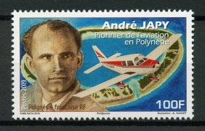 French Polynesia Stamps 2019 MNH Andre Japy Aviation Pioneer Aircraft 1v Set