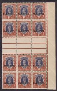 India, Nabha Sc 81 MNH. 1938 1r KGVI Gutter Block VF+