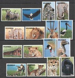 A0625 UGANDA FAUNA ANIMALS BIRDS WILDLIFE OF UGANDA !!! FULL BIG SET MNH