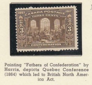 CANADA (MK2964) # 135  F-MLH  3cts  FATHERS OF CONFEDERATION /1917 /BROWN CV $20