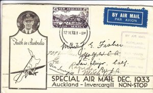 1933, Special Airmail Flt., Auckland to Invercargill, See Remark (36043)