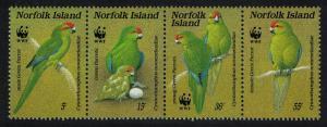 Norfolk Birds WWF Green Parrot strip of 4v SG#425-428 SC#421 a-d MI#421-424