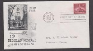 1044 Independence Hall ArtCraft FDC with neatly typewritten address