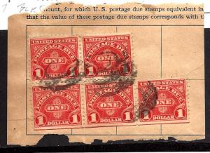 J77 Used... Block of 5 on a Piece... SCV $1.75