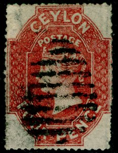 CEYLON SG30a, 4d dp rose-red, FINE USED. Cat £160.