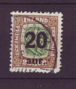 J19129 Jlstamps 1921 iceland used #133 ovpt