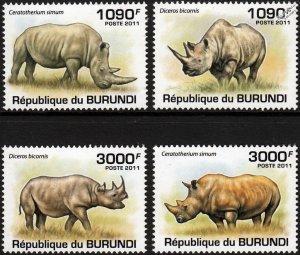 Burundi MNH 832-5 Rhinoceroses 2011 SCV 13.50