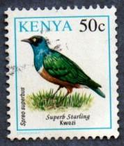 Kenya Scott #594 50c Superb Starling, bird (1993) used