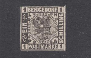 Bergedorf Sc 2 MNH. 1861 1s black Coat of Arms, VF+. Germany