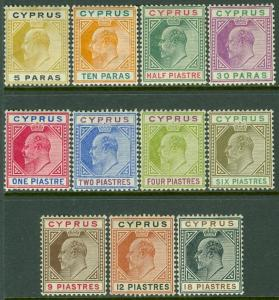 CYPRUS : 1904-10. Stanley Gibbons #60-70 Very Fine, Mint OGH. Catalog £230.00.