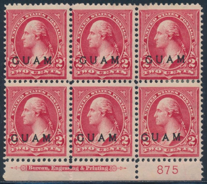 GUAM #2 -- RED -- PLATE NO. BLOCK OF 6 F-VF OG HR CV $300 BS9044