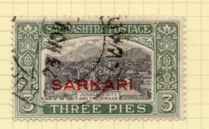 Indian States Soruth 1929 Early Issue Fine Used 3p. SARKARI 194622