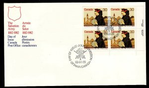Canada-Sc#954-stamp on FDC-LR plate block-Salvation Army-1982-