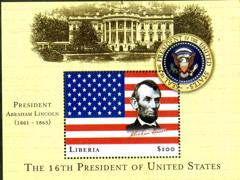 LIBERIA UNLISTED MNH S/S SCV $2.50 BIN $1.00 LINCOLN