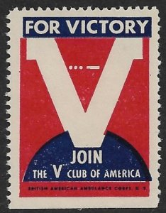 USA c1942 WW2 V FOR VICTORY Label British American Ambulance Corps MNG