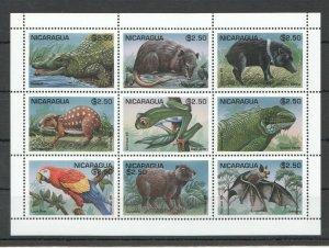 PK202 1995 NICARAGUA FAUNA WILD ANIMALS REPTILES BIRDS 1KB MNH STAMPS