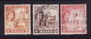 Malta 247, 250, 252 U Queen Elizabeth II (D)