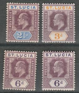 ST LUCIA 1904 KEVII RANGE TO 6D WMK MULTI CROWN CA