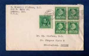 US Sc #864 Zip Block Of Four and Sc #859 On A Cover to Sweden F-VF