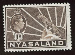 Nyasaland Protectorate Scott 55 MH* KGVI leopard stamp