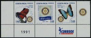 Costa Rica 583 Bottom Strip MNH Rotary International, Frog, Butterfly, Crest