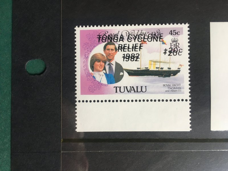 Tuvalu 1982 Tonga Relief double and inverted overprints
