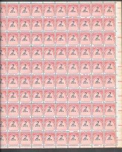 #J90 MNH Full Sheet  ((Shifted High))  (((Some Toning on Edge)))