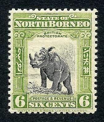 North Borneo SG282 6d Olive-green Perf 12.5 Fine M/M Cat 15 pounds