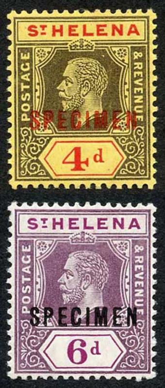St Helena SG83s/4s Set of 2 opt Specimen M/Mint