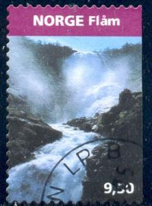 Kjofossen Waterfall, Flam, Norway stamp SC#1428 used