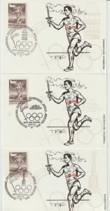 Austria SC 926 Cancelled at Three different Cities on Torch Route On 3 Cards