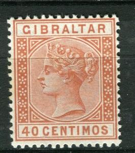 GIBRALTAR; 1889 early classic QV issue fine Mint hinged Shade of 40c. value