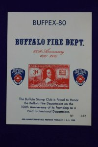 BUFPEX 1980 80 Buffalo NY fire dept stamp club 971 reprint Souvenir card page