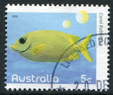 FISHES OF THE REEF PART I 2010 - 5c CORAL RABBITFISH USED