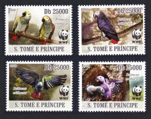 Sao Tome Birds WWF Grey Parrot 4v MI#3777-3780 SALE BELOW FACE VALUE