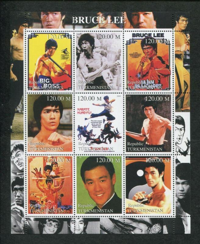 Turkmenistan Commemorative Souvenir Stamp Sheet - Martial Arts Master Bruce Lee