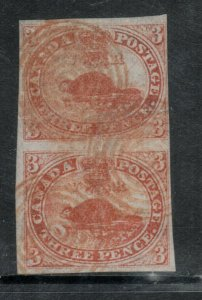 Canada #1 Used Fine Vertical Pair With Red Concentric Cancels *With Certificate*