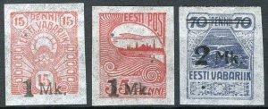 Estonia 1920, Overprints set MNH, Mi 18-20 (E10008) cat 5€